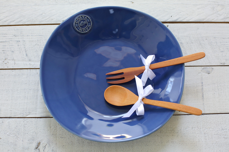 コスタノバ スープ&パスタプレート+木のスプーン&フォーク(M)