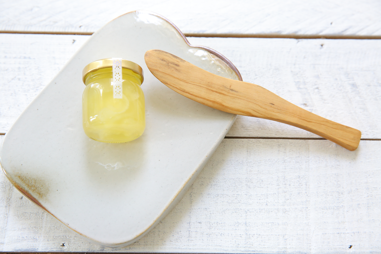波佐見焼パン皿+バターナイフ+ハニージャム