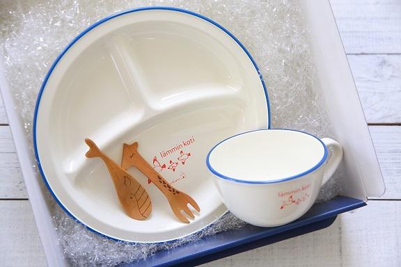 lammin kotiランチプレート+スープマグ+くじらスプーン+キリンのフォーク